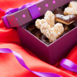 Cookies in the shape of hearts gift for Valentine's Day — Stok fotoğraf