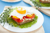 Fried egg on bread and vegetables — Stock Photo