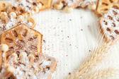 Homemade waffles shaped and ears of wheat — Stock Photo