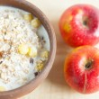 Healthy breakfast - muesli and apples — Stock Photo