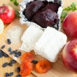 Cottage cheese and fruit - top view — Stock Photo