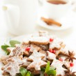 Christmas Tea Party. Cookies and tea - Stock Photo