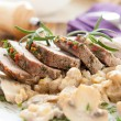 Pork with rosemary and mushrooms — Stock Photo