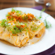 Cabbage roll stuffed with rice on white plate — 图库照片