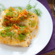 Cabbage roll on white plate, top view — Stock Photo #19168431