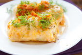 Cabbage rolls closeup on white plate, — Stock Photo
