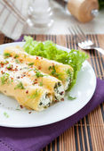 Cannelloni stuffed with spinach and soft cheese — Stock Photo
