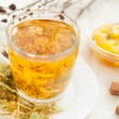 Linden tea with floral honey - Stock Photo