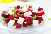 Salad with cubes beets and feta — Stock Photo