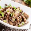 Honey agarics mushroom salad with chives — Stock Photo