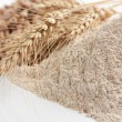 Stock Photo: Wholemeal wheat flour and ears of wheat