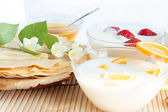 Homemade yogurt and pancakes ruddy — Stock Photo