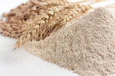 Wholemeal wheat flour and ears of wheat — Stock Photo