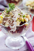 Beet-apple salad with walnut dressing — Stock Photo