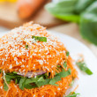Salad with fresh grated carrots with spinach — Stock Photo