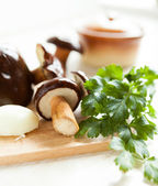 Raw mushrooms ready for cooking — Stock Photo