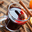 Hot wine for winter and Christmas with  spices — Stock Photo