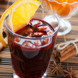 Stock Photo: Mulled wine with slice of orange