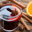 Stock Photo: Traditional mulled wine with spices and citrus.
