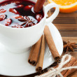 Stock Photo: Hot wine for winter and Christmas with almonds,