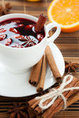 Hot wine for winter and Christmas with almonds, — Stock Photo