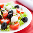 Fresh salad with mozzarella and tomato — Stock Photo