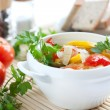 Wholesome vegetables, steamed. Healthy food — Stockfoto