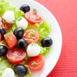 Caprese salad with tomato and mozzarella cheese on a white plate — Stock Photo