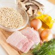 Ingredients for garnish buckwheat - the meat, onion - Foto Stock