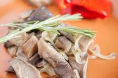 Fried mushrooms close up - oyster mushrooms — Stock Photo