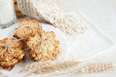 Ruddy cookies and wheat flakes — Stock Photo