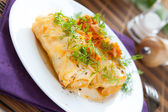 Cabbage rolls on a white plate with tomato sauce — Stock Photo