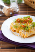 Ukrainian cabbage rolls on a white plate with tomato sauce — Stock Photo