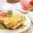 Piece of traditional lasagna with vegetables on white dish - Stock Photo