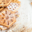 Foto de Stock  : Heap ruddy waffles with chocolate