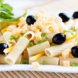 Cooked pasta with cheese and vegetables — Stock Photo
