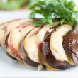 Baked eggplant with cheese sauce — Stock Photo