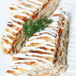 Piece of vegetable pie with meat - Stockfoto