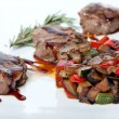 Stock Photo: Roasted vegetables and grilled meat