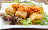 Stuffed cabbage with carrot sauce — Stock Photo