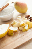 Processes making pear jam — Stock Photo