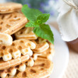 Honey waffles on a plate — Stock Photo
