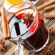 Stock Photo: Large glass of hot wine with spices