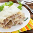 Stock Photo: Meat lasagnwith sauce bechamel