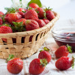 Flavorful strawberries and jam in a bowl — Stock Photo
