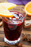 Mulled wine with almonds and orange — Stock Photo
