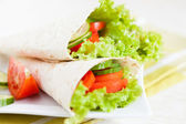Vegetable salad in a thin pita — Stock Photo