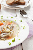 Fragrant soup with pork, noodles and vegetables — Stock Photo