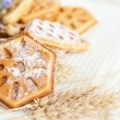 Foto Stock: Ruddy homemade waffles with powdered
