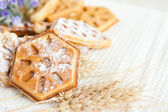 Ruddy homemade waffles with powdered — Stock Photo